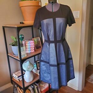 BCBG MaxAzria Faux Leather Patched Dottie Dress